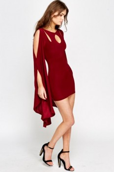 Long Flared Sleeve Bodycon Dress - Burgundy - Just £5