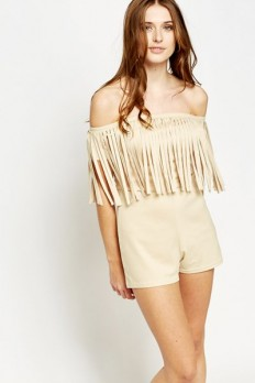 Fringed Off Shoulder Playsuit - Stone or Camel - Just £5