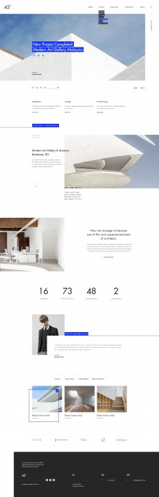 45 degrees - Architecture Studio PSD Template Preview - ThemeForest