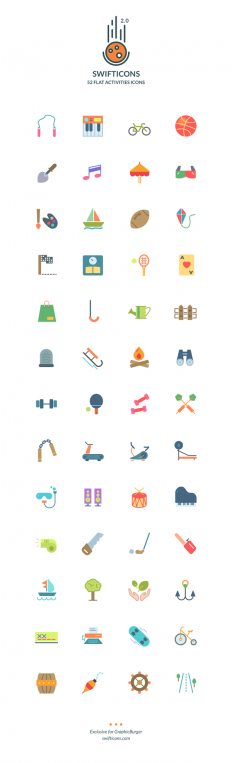 Swifticons – 52 Flat Activities Icons | GraphicBurger