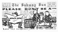 Vintage subway posters compared manspreaders to Hitler