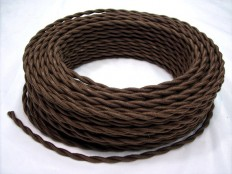 Brown Cotton Cloth Covered Wire 7-ft Antique by VintageWire