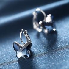 Amazon.com: Gold Plated Butterfly Shape Hoop Earrings Swarovski Elements Crystal | T400 Jewelers: Jewelry