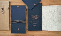 Copper Foil and Navy Iceland Wedding Invitations