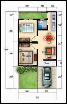 denah desain rumah tipe 36 minimalis terbaik #3 | Jaaru