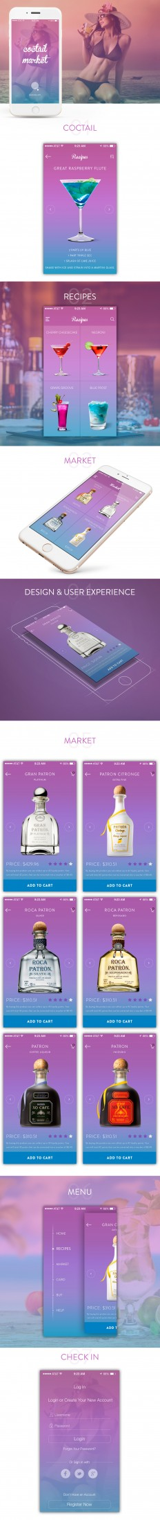 coctail market | Mobile Application UX/UI Design on