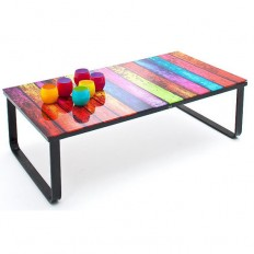 Glass Coffee Table In Wood, Chrome, Black, Furnitureinfashion UK