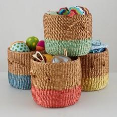 Half Tone Rattan Floor Baskets | The Land of Nod