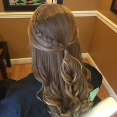"Courtney Tillotson on Instagram: ""Half-up style for a homecoming dance! #hair #shearthairapy #halfupdo #curls #updo #braid #homecoming"""