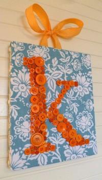 Custom Button Letter Wall Art Orange by letterperfectdesigns