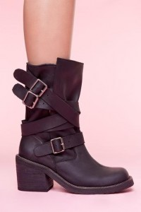 Deanne Strapped Boot - Black in Shoes at Nasty Gal