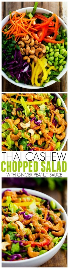Thai Cashew Chopped Salad with a Ginger Peanut Sauce Recipe | Buzz Inspired