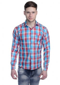 Aligatorr Men's Polycotton Casual Shirt - Red & Blue from Aligatorr   Casual & Party Shirts   clothing-store   HomeShop18.com