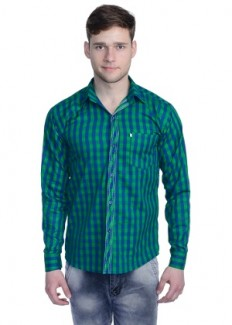 Aligatorr Men's Polycotton Casual Shirt - Green from Aligatorr   Casual & Party Shirts   clothing-store   HomeShop18.com