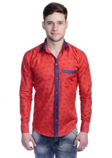 Aligatorr Men's Polycotton Casual Shirt - Red from Aligatorr   Casual & Party Shirts   clothing-store   HomeShop18.com