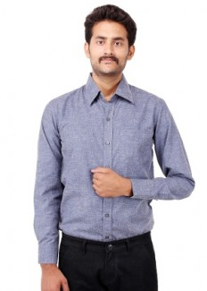 Fbbic Men's Cotton Formal Shirt - Blue from Fbbic   Formal Shirts   clothing-store   HomeShop18.com