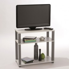 Cyprus Modern TV Stand In White With Shelves 28618 Furniture