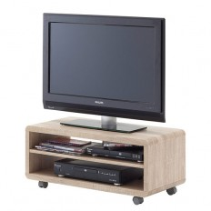 Jeff7 Lowboard LCD TV Stand In Rough Sawn Oak With Wheels 24
