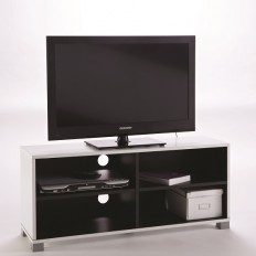 Trinity LCD TV Stand In White And Black With 4 Compartments