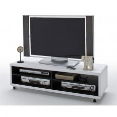 Jeff7XL Lowboard LCD TV Stand In White And Black With Wheels