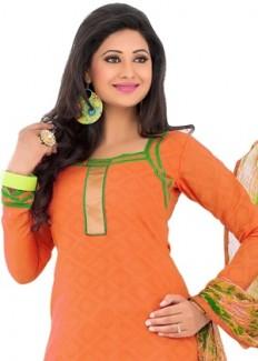 Swaron Women's Unstitched Salwar Suit - Orange from Swaron   Salwar Suits   clothing-store   HomeShop18.com