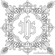 Free Church Embroidery Pattern: IHS with Grapes & Wheat – Needle'nThread.com