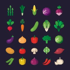 Vegetable icons collection Vector | Free Download
