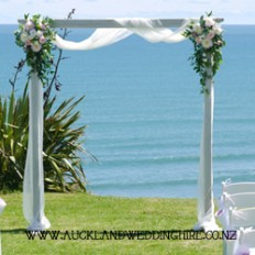 Vintage Whitewash Wooden Arch - Wedding and Event Hire Auckland