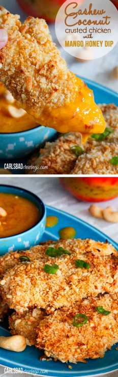 Cashew Coconut Crusted Chicken Tenders with Mango Honey Dip Recipe | Buzz Inspired
