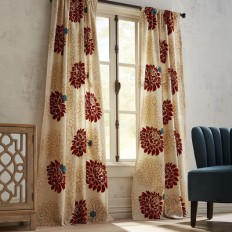 Flocked Blooms Rust Curtain | Pier 1 Imports