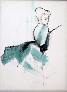 Attributed to René Bouché (1905-1963), Lady in a green chiff