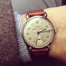 1940s #Vacheron triple calendar back on my wrist after a 6 month visit to the spa. Just in time for #sihh2014.   relojes   Pinterest