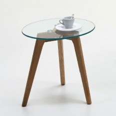 Cliff Side Table In Clear Glass Top With Canadian Oak Legs 2
