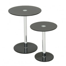Roma Set Of 2 Black Glass Round Tables 16086 Furniture IN Fa