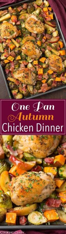 One Pan Autumn Chicken Dinner Recipe | Buzz Inspired