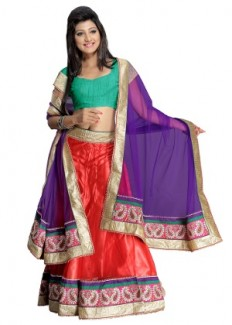 Florence Women's Net Lehenga Choli - Green, Red & Violet from Florence | Lehengas | clothing-store | HomeShop18.com
