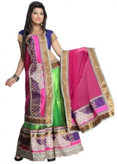 Florence Women's Net Lehenga Choli - Blue, Green & Pink from Florence | Lehengas | clothing-store | HomeShop18.com