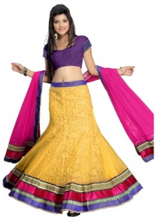 Florence Women's Net Lehenga Choli - Purple, Pink & Yellow from Florence | Lehengas | clothing-store | HomeShop18.com