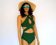 PADDED Emerald green cross neck one piece by bstyle on Etsy