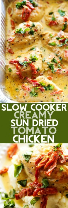 Slow Cooker Creamy Sun Dried Tomato Chicken Recipe | Buzz Inspired