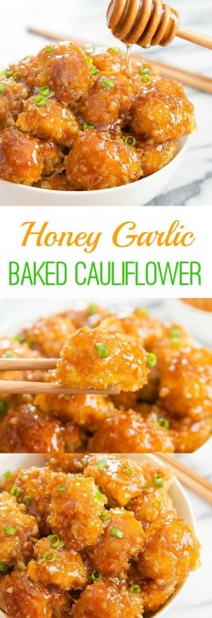 Honey Garlic Baked Cauliflower Recipe | Buzz Inspired