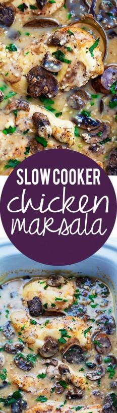 Slow Cooker Chicken Marsala Recipe | Buzz Inspired