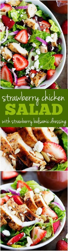 Strawberry Chicken Salad with Strawberry Balsamic Dressing Recipe | Buzz Inspired
