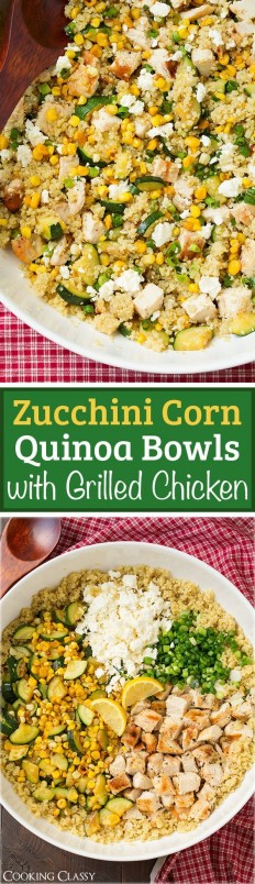 Zucchini Corn and Quinoa Bowls with Grilled Chicken and Lemon Recipe | Buzz Inspired