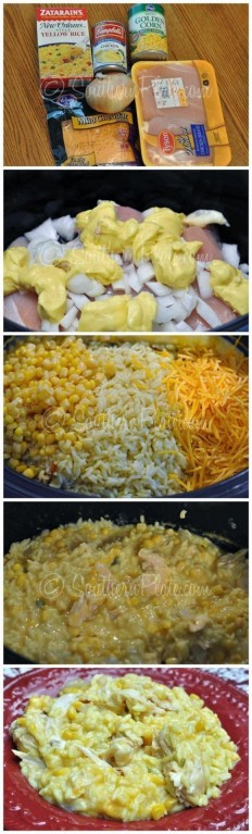 Slow Cooker Cheesy Chicken and Rice Recipe | Buzz Inspired