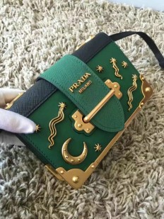 Prada Cahier Bag Green with Star and Moon Appliques 1BD057