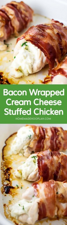 Bacon Wrapped Cream Cheese Stuffed Chicken Recipe | Buzz Inspired