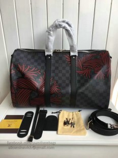 Louis Vuitton Red Rope Pattern Keepall Bandoulière 45 N41701