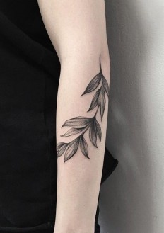 Minimalist black leaves tattoo. | Tattoo | Pinterest