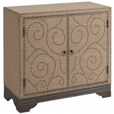 Cocoa Upholstered Nailhead 2-Door Cabinet | Pier 1 Imports